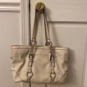 White/ Ivory Coach East West Gallery Satchel Tote